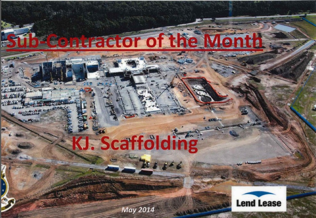 Commercial Scaffolding Award from Lend Lease Australia
